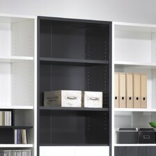 Fairfax Short Wide Bookcase in Black Woodgrain