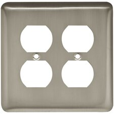 Stamped Round Double Duplex Wall Plate