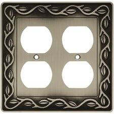 Leaf and Vine Double Duplex Wall Plate