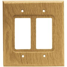 <strong>Brainerd</strong> Wood Square Double GFCI/Rocker Wall Plate