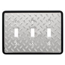 Diamond Plate Triple Switch Wall Plate