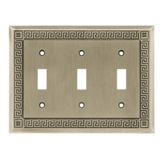 Greek Key Triple Switch Wall Plate