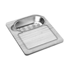 Hardwood Cutting Board and Colander Sink Set