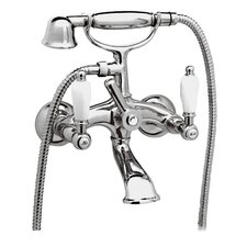 Double Handle Wall Mounted Clawfoot Tub Filler with Hand Shower