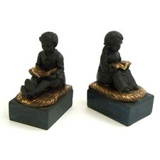 <strong>Bey-Berk</strong> Reading Boy and Girl Book Ends (Set of 2)