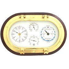 "12"" Porthole Wall Clock,Tide Clock,Thermometer, and Hygrometer"