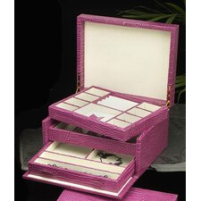 <strong>Bey-Berk</strong> Multi-level Jewelry Box in Pink Leather