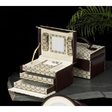 "<strong>Bey-Berk</strong> 5"" Jewelry Box with Two Tone Fabric and Brown Leather Accents"