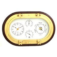 Brass Porthole Clock with Barometer,Thermometer, Hygrometer