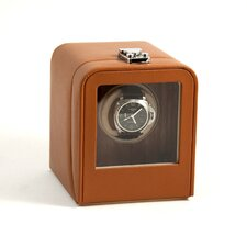 Single Watch Winder with Wood Interior Panel and Window