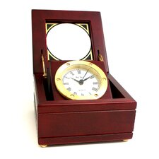 Brass Clock in Mahogany Box
