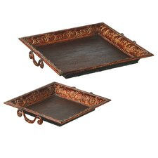 2 Piece Square Scroll Tray Set