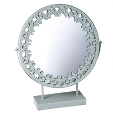 Mirror on Stand with Patterned Metal Trim