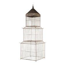 Vintage Ivory Birdcage Pedestal