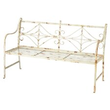 Distressed Metal Garden Bench