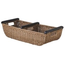 Woven Rattan Divided Basket with Wood Handle