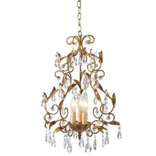 Gold Leaf Crystal Chandelier