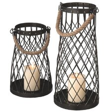 2 Piece Wire Pillar Metal Lantern Set