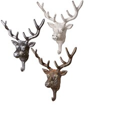 Stag Head Wall Hook Set (Set of 3)