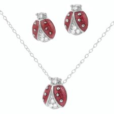 Sterling Silver Ladybug Cubic Zirconia Necklace and Earrings Set