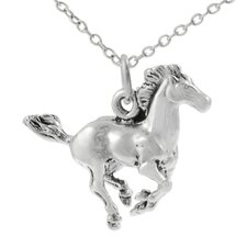 Sterling Silver Running Horse Necklace