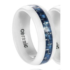 Daxx Men's Ceramic Carbon Fiber Inlay Band