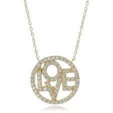 Sterling Silver Circle Love Cubic Zirconia Necklace