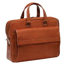 <strong>Mancini</strong> Colombian Double Compartment Leather Laptop Briefcase