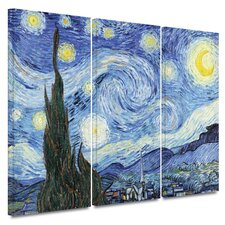 'Starry Night' by Vincent van Gogh 3 Piece Painting Print on Canvas Set