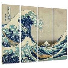 'The Great Wave off Kanagawa' by Katsushika Hokusai 4 Piece Painting Print on Canvas Set