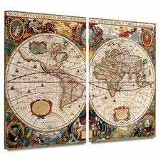 'A New and Accurate Map of the World' by Henricus Hondius 2 Piece Graphic Art Canvas Set