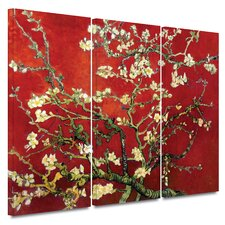 'Almond Blossom' Gallery-Wrapped by Vincent Van Gogh 3 Piece Prints of Paintings on Canvas Set in Red