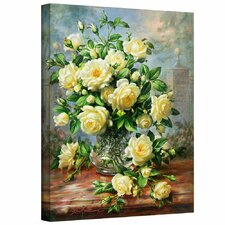 'Princess Diana Roses in a Cut Glass Vase' by Albert Williams Gallery-Wrapped on Canvas