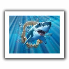 'Great White Shark' by Jerry Lofaro Unwrapped on Canvas