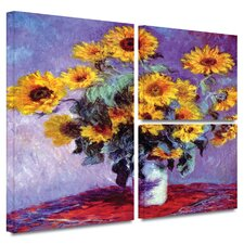 'Sunflowers' by Claude Monet Flag 3 Piece Gallery-Wrapped Canvas Art Set