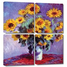 'Sunflowers' by Claude Monet 4 Piece Gallery-Wrapped Canvas Art Set