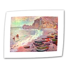 """Cliffside Boats"" by Claude Monet Painting Print on Canvas"