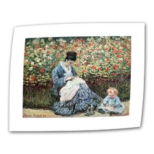 """Mother and Child"" by Claude Monet Painting Print on Canvas"