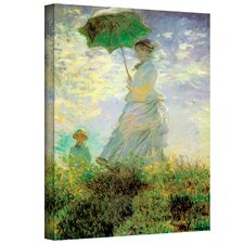 ''Lady with Umbrella in Field'' by Claude Monet Canvas Painting Print