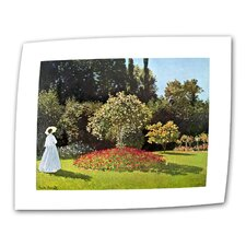 """Woman in Park with Poppies"" by Claude Monet Painting Print on Canvas"