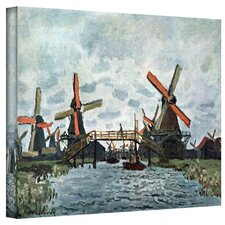''Windmills'' by Claude Monet Painting Print on Canvas