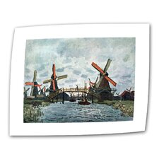 """Windmills"" by Claude Monet Painting Print on Canvas"