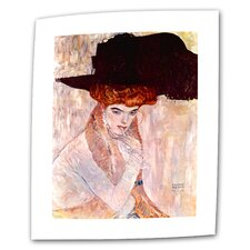"""The Black Feather Hat"" by Gustav Klimt Painting Print on Canvas"