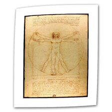 """Vitruvian Man"" by Leonardo Da Vinci Textual Canvas"