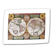"<strong>Art Wall</strong> Antique ""Description De La Terre Antique Map"" Canvas Wall Art"
