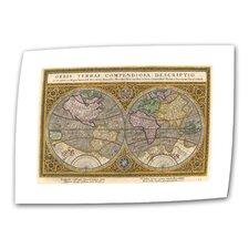 "<strong>Art Wall</strong> Antique ""Orbis Terrae Compendiosa Descriptio Antique Map"" Canvas Wall Art"