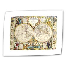 <strong>Art Wall</strong> Antique Maps 'Mappe-Monde Carte Universelle de la Terre Dressee' Unwrapped Canvas Wall Art