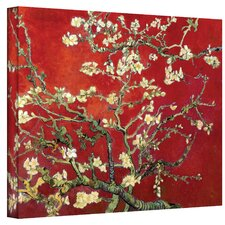 """Interpretation in Red Blossoming Almond Tree"" by Vincent Van Gogh Painting Print on Canvas"