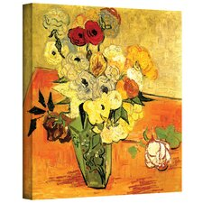''Japanese Vase with Roses and Anemones'' by Vincent Van Gogh Painting Print on Canvas