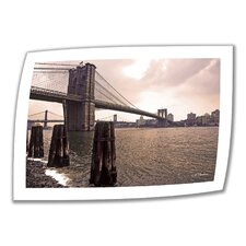 Linda Parker 'Brooklyn Bridge at Sunset' Unwrapped Canvas Wall Art